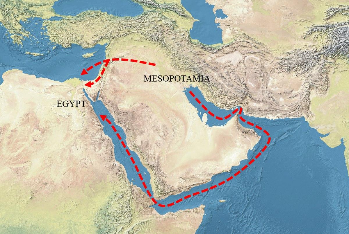 1200px Mesopotamia Egypt trade routes