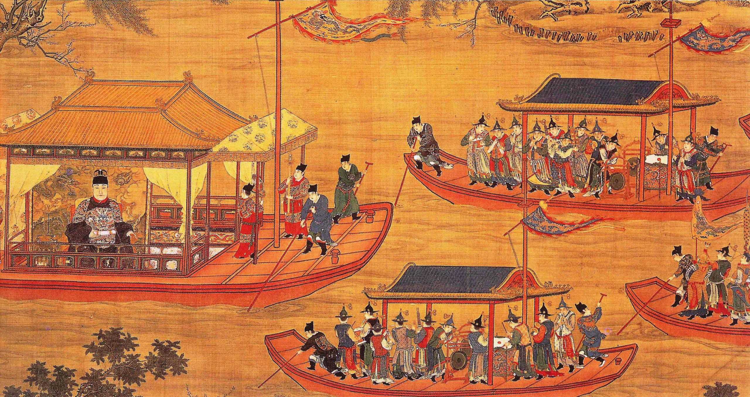 jiajing emperor on his state barge scaled