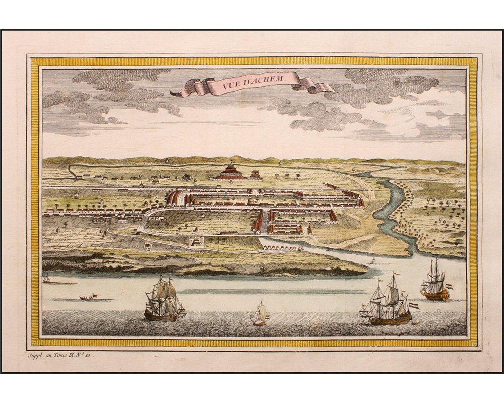 indonesia kingdom achem sumatra voc ships large antique engraving bellin 1753